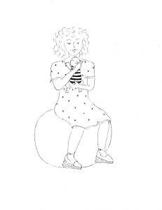 Tekening: Ineke van Straeten met Ido tijdens het slaapconsult